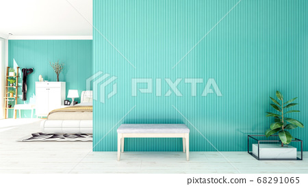 Nordic style bedroom interior with large empty wall and copy space, 3D Rendering   68291065