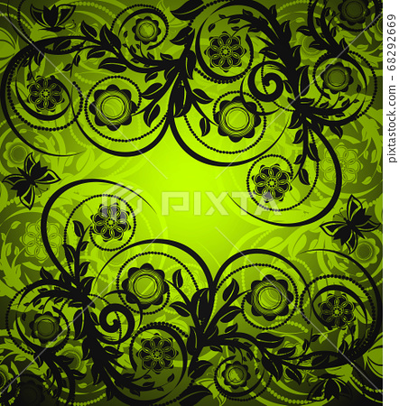 vector illustration of a floral ornament with butterfly 68292669