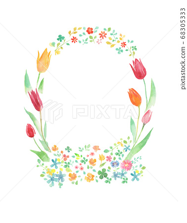 들꽃과 튤립 프레임 68305333