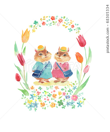 Illustration of a squirrel going to the entrance ceremony with a floral frame 68305334