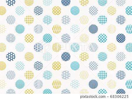 일본식 디자인 배경 소재 - 물방울 - 마루 - 패턴 - 섬유 [XL에서 A3-350dpi] 68306225
