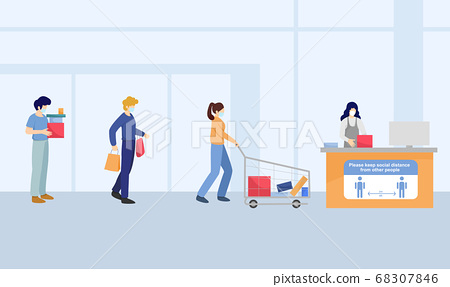 Title: Social distancing, People wait in line for paying at shopping mall , keep distance for 2 centimetres, health protection, new normal,vector illustration 68307846