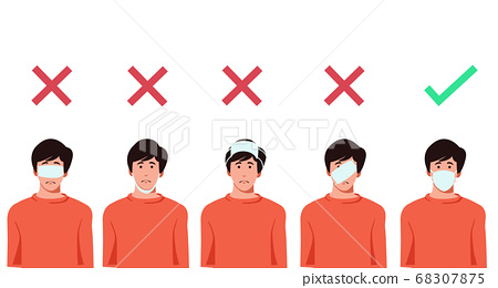 Set of men wearing medical mask in the wrong way with red cross symbol, one men wearing medical mask properly with   green check mark, protection concept, prevent virus, vector illustration 68307875
