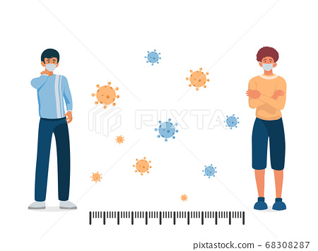 Two mans  wearing surgical or medical face mask keep distance for 2 centimeters or 6 feet with coronavirus background,social distancing concept, vector illustration. 68308287