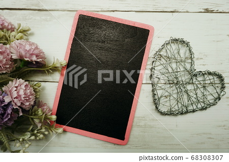 flower bouquet and space copy on wooden background 68308307