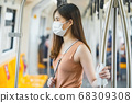 Young Asian woman passenger wearing surgical mask and hand touching with wet wipe in subway train when traveling in big city at Covid19 outbreak, Infection and Pandemic, new normal concept 68309308
