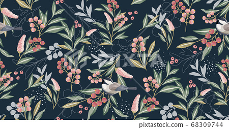 Vector illustration of seamless floral pattern in spring  68309744