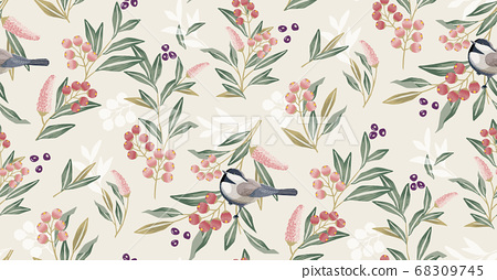 Vector illustration of seamless floral pattern in spring  68309745