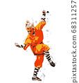 Young woman preforming martial arts, vector 68311257