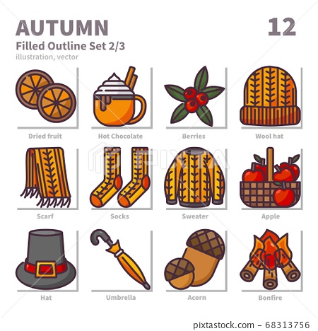 Autumn icons set, Filled Outline, vector and illustration set 2 68313756