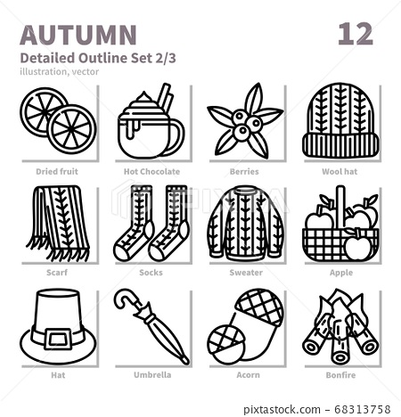 Autumn icons set, Detailed Outline, vector and illustration set 2 68313758