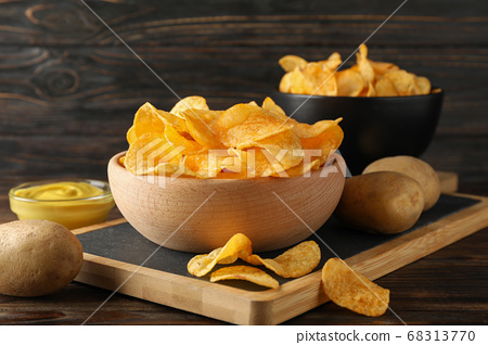 Potato chips. Beer snacks, sauce, potato on 68313770