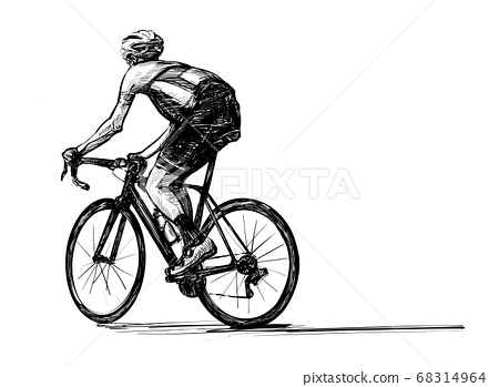 Sketch of bicycle competition hand draw  68314964