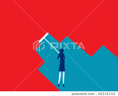 Businesswoman painting with roller paint. Concept 68316158