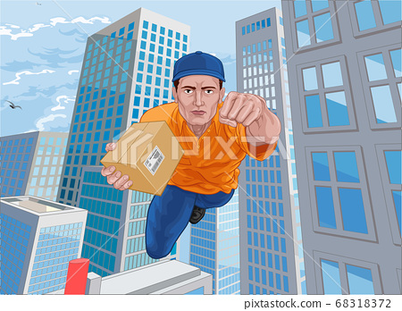 Delivery Courier Superhero Flying Super Hero 68318372