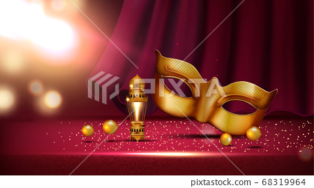 lantern and golden mask at mardi gras parade banner rose and feather near colombina mask 68319964