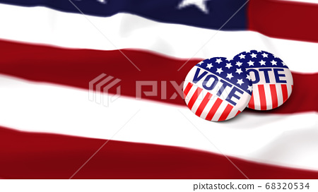 American vote badge on flag for social content 3d 68320534