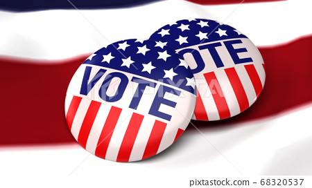 American vote badge on flag for social content 3d 68320537