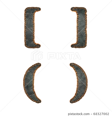 Set of symbols left, right bracket and left, right perentheses made of leather. 3D render font with skin texture isolated on white background. 68327002