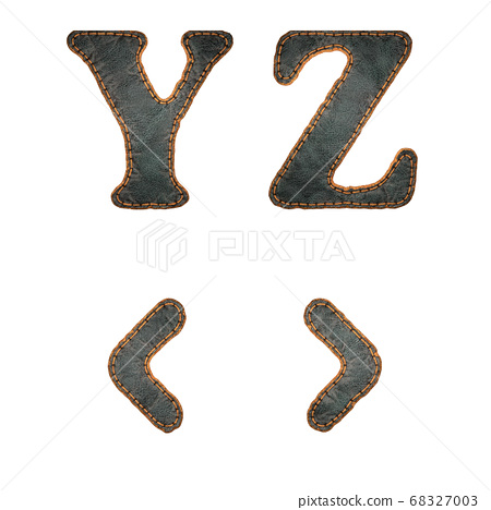 Set of leather letters Y, Z and symbol left, right angle bracket uppercase. 3D render font with skin texture isolated on white background. 68327003