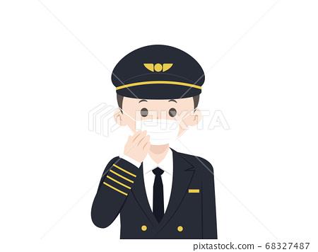 마스크를 쓰면 기장 비행사의 일러스트 68327487
