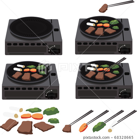 插圖素材家用電器熱板鐵板燒烤肉烤肉廚房用具燒烤矢量 68328665