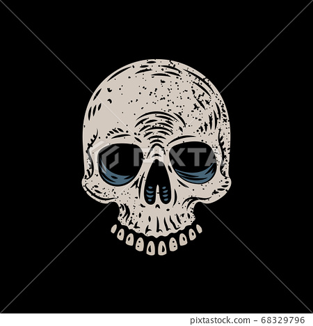 Hard Core Skull Head Illustration 68329796