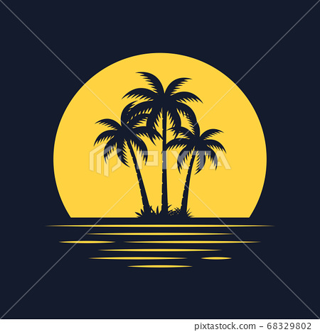 Graphic image with palm tree background 68329802
