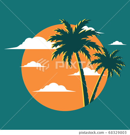 Graphic image with palm tree background 68329803