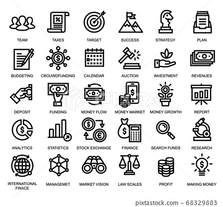 Set of icons related to business & finance 68329883