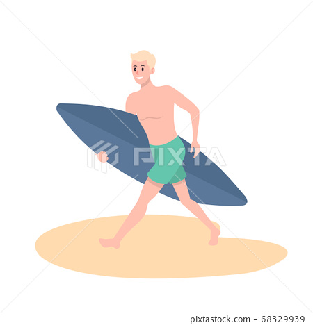 Character image with summer background - surf man 68329939