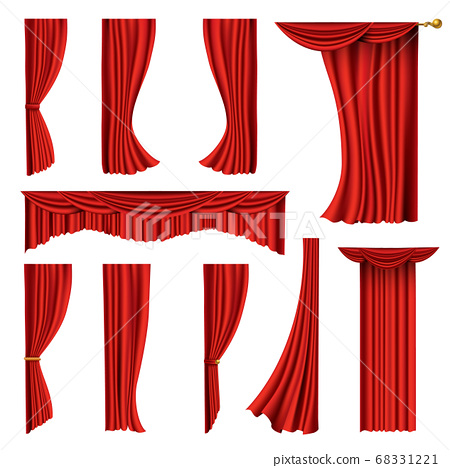 Collection of realistic red curtains. Theater fabric silk decoration for movie cinema or opera hall. Curtains and draperies interior decoration object. Isolated on white for theater stage 68331221