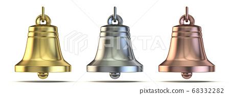 Golden, silver and bronze bells 3D 68332282