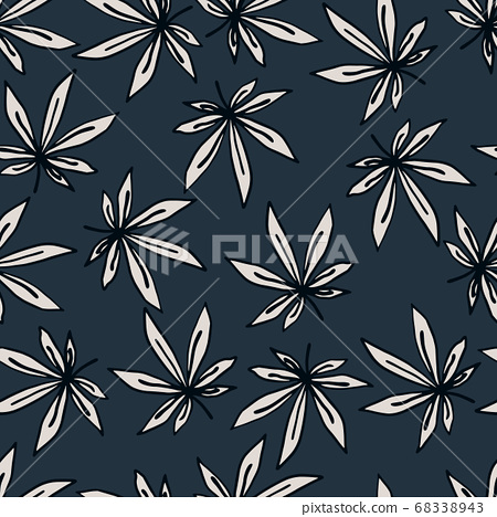 Seamless hand drawn pattern with outlined white 68338943