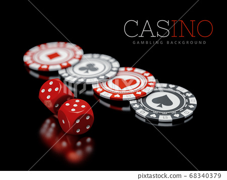 3d illustration of Pocker Chips with dice, Casino Concept isolated on white 68340379