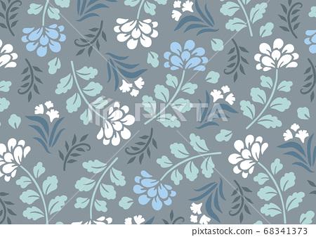 세련되고 우아한 블루 꽃 무늬 68341373