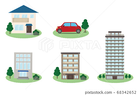 各種類型的建築物和汽車的矢量圖 68342652