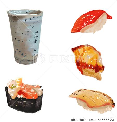 濃厚的水彩塗層,壽司套,由美,黃鮭魚,金槍魚,山葵芥末 68344478
