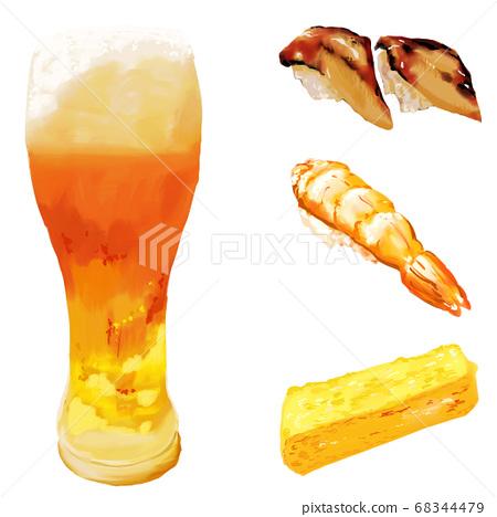 수채화 두께 그리 스시 세트 유리 맥주 · 붕장어 · 계란 · 새우 68344479