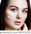 Woman brunette graphic lines shows facial lifting effect. 68345202