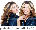 Collage of woman in black leather jacket smiling and laughping. 68345228