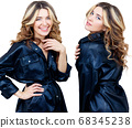 Collage of woman in black leather jacket smiling and laughping. 68345238