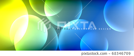 Vector abstract background liquid bubble circles on fluid gradient with shadows and light effects. Shiny design templates for text 68346709