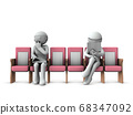 Patients who maintain a social distance in the waiting room. 68347092