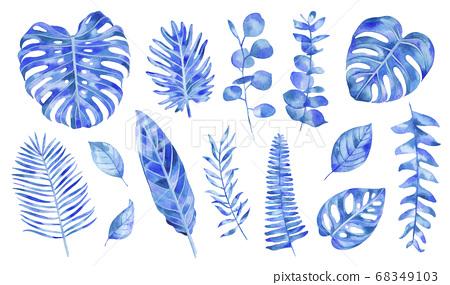 手繪樹葉水彩插圖素材集 68349103