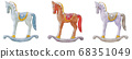 Christmas wooden horse ornaments 68351049