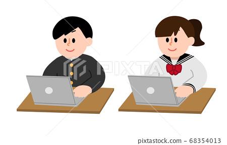 컴퓨터 작업하는 남자 여학생 (심플 컬러) 68354013