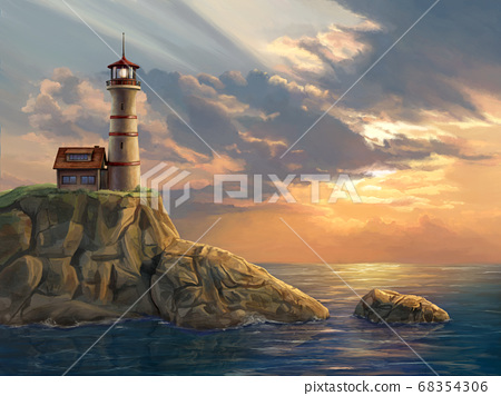Lighthouse at sunset 68354306