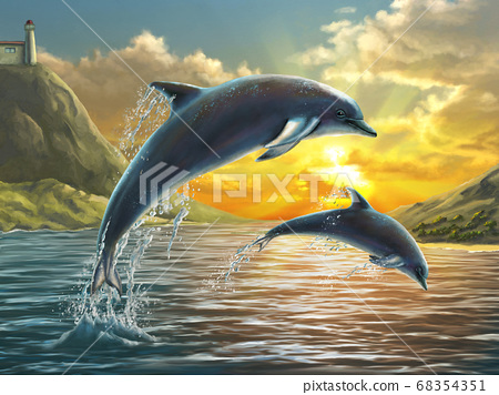 Jumping dolphins 68354351