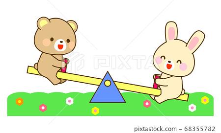 兒童玩蹺蹺板的插圖 68355782